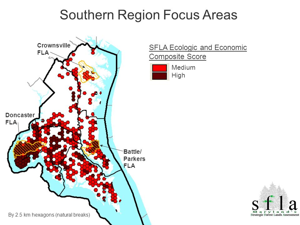 Doncaster FLA Crownsville FLA By 2.5 km hexagons (natural breaks) SFLA Ecologic and Economic Composite Score Medium High Southern Region Focus Areas B