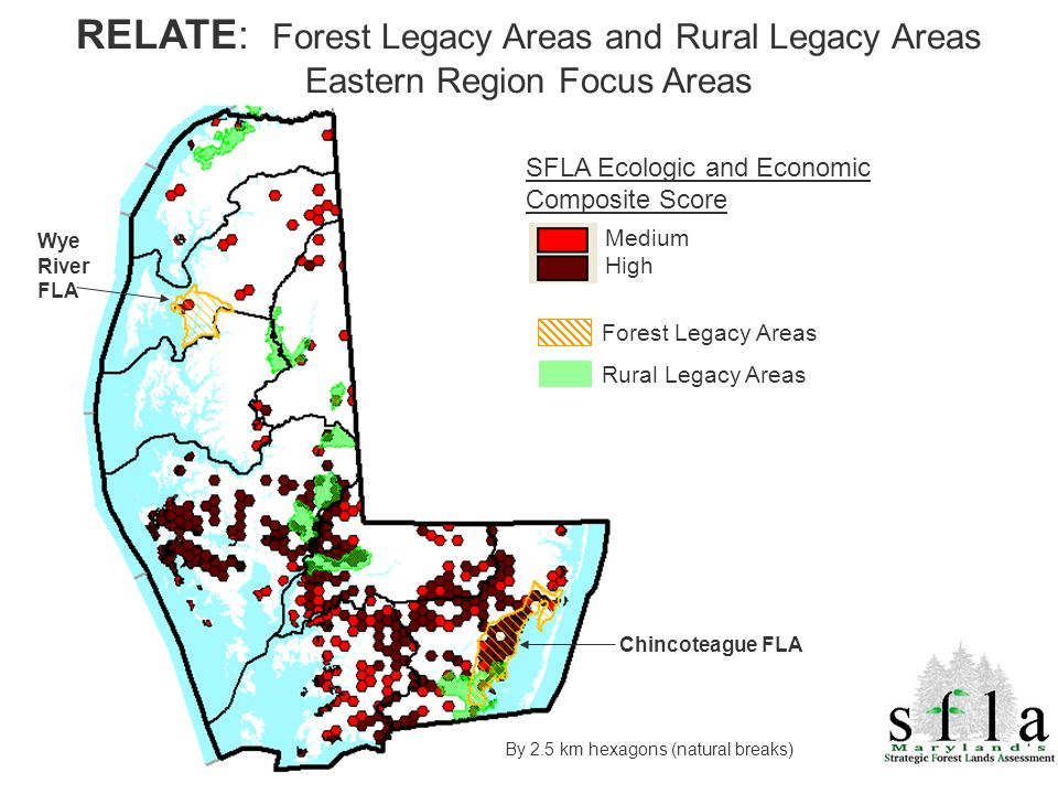 By 2.5 km hexagons (natural breaks) SFLA Ecologic and Economic Composite Score Medium High RELATE: Forest Legacy Areas and Rural Legacy Areas Eastern