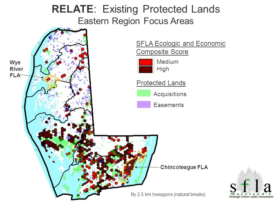 By 2.5 km hexagons (natural breaks) SFLA Ecologic and Economic Composite Score Medium High RELATE: Existing Protected Lands Eastern Region Focus Areas