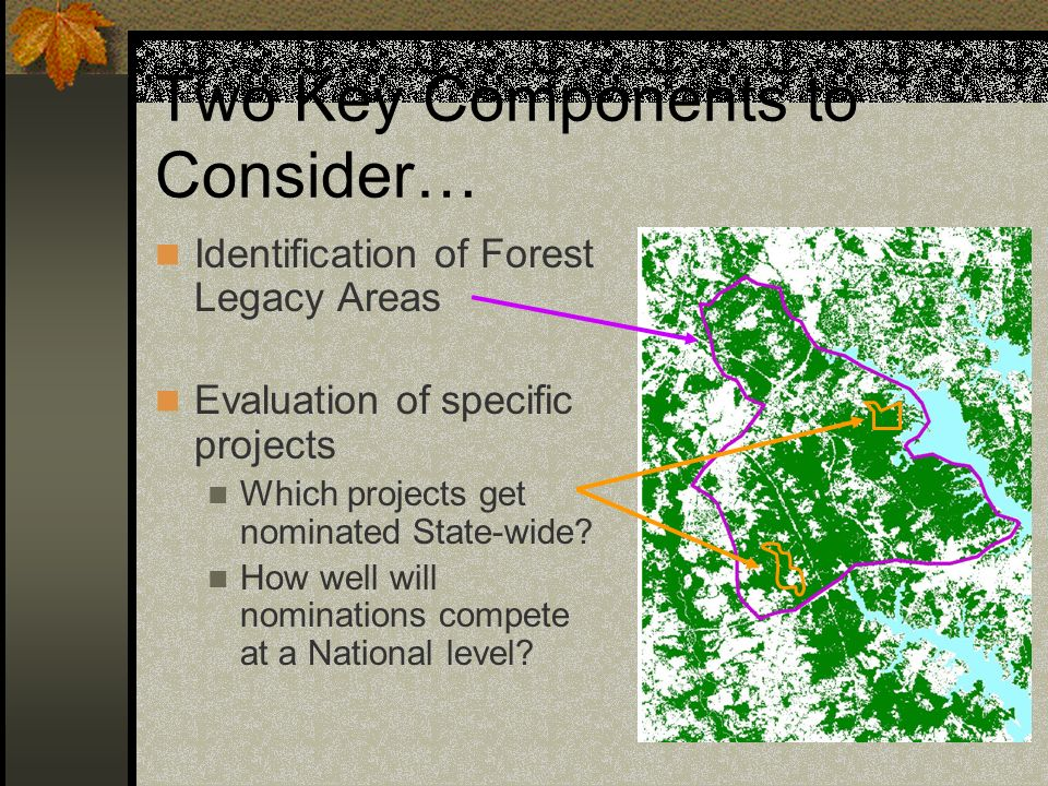 Two Key Components to Consider… Identification of Forest Legacy Areas Evaluation of specific projects Which projects get nominated State-wide? How wel
