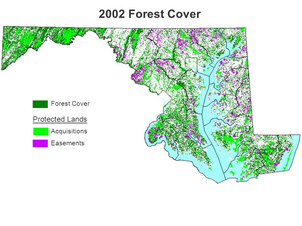 Forest Cover 2002 Forest Cover Acquisitions Easements Protected Lands