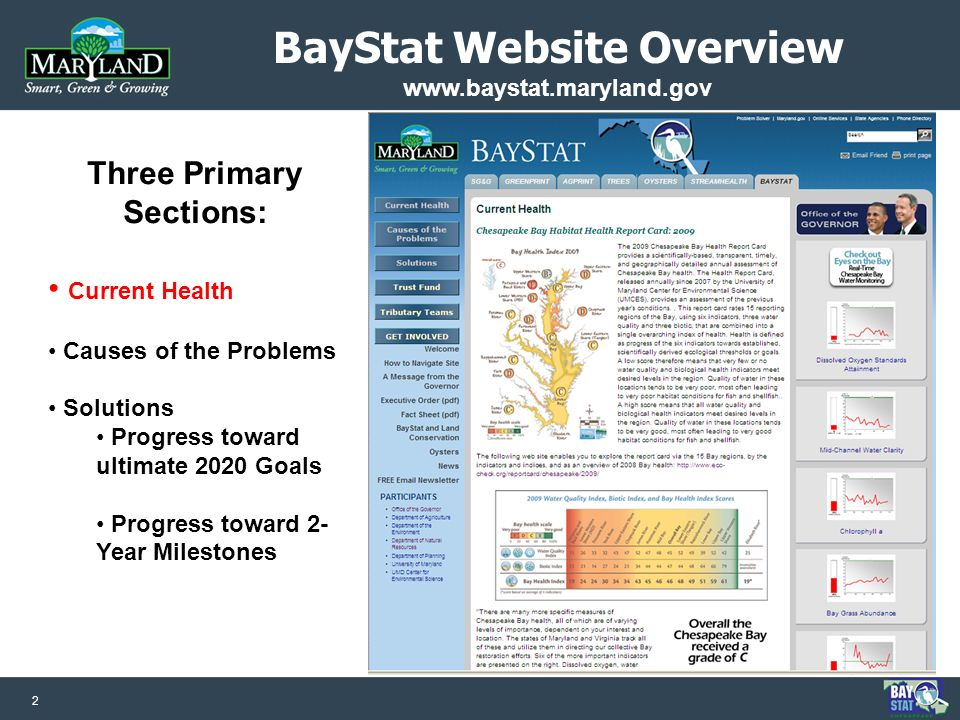 2 BayStat Website Overview www.baystat.maryland.gov Three Primary Sections: Current Health Causes of the Problems Solutions Progress toward ultimate 2020 Goals Progress toward 2- Year Milestones