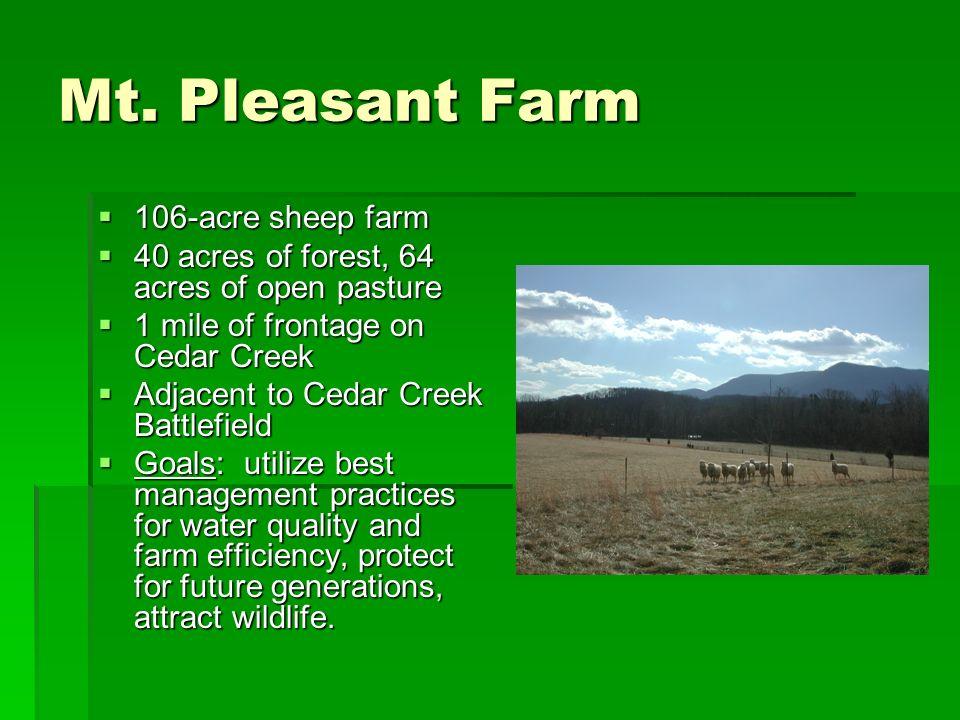 Mt. Pleasant Farm 106-acre sheep farm 106-acre sheep farm 40 acres of forest, 64 acres of open pasture 40 acres of forest, 64 acres of open pasture 1