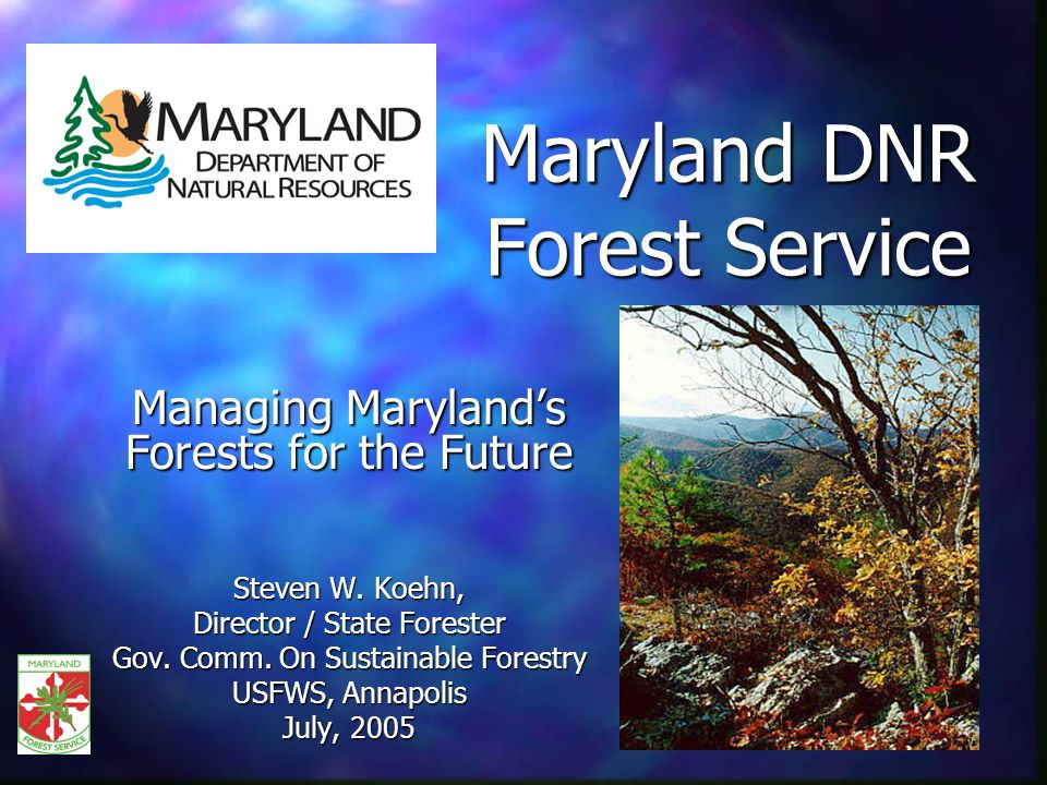 Maryland DNR Forest Service Managing Marylands Forests for the Future Steven W.