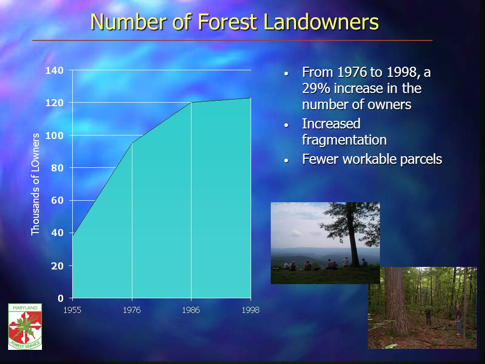 Number of Forest Landowners From 1976 to 1998, a 29% increase in the number of owners From 1976 to 1998, a 29% increase in the number of owners Increased fragmentation Increased fragmentation Fewer workable parcels Fewer workable parcels