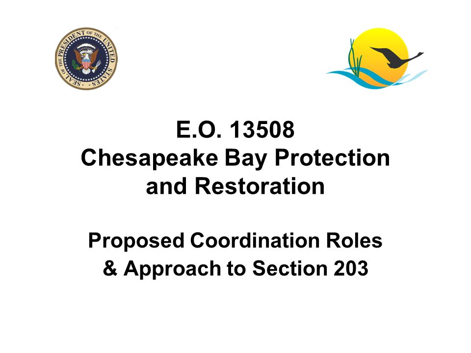 E.O. 13508 Chesapeake Bay Protection and Restoration Proposed Coordination Roles & Approach to Section 203