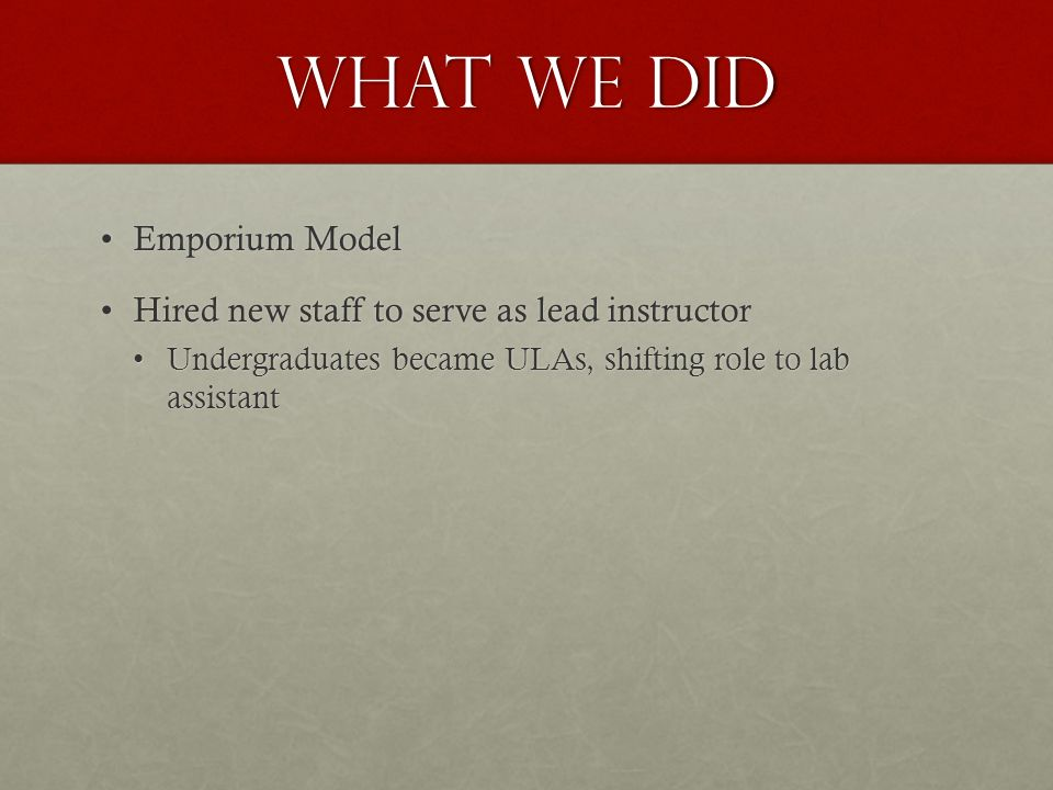 What we did Emporium ModelEmporium Model Hired new staff to serve as lead instructorHired new staff to serve as lead instructor Undergraduates became ULAs, shifting role to lab assistantUndergraduates became ULAs, shifting role to lab assistant
