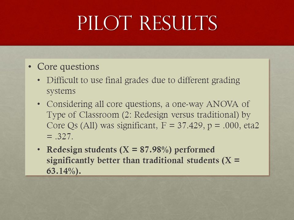 Pilot results Core questionsCore questions Difficult to use final grades due to different grading systemsDifficult to use final grades due to different grading systems Considering all core questions, a one-way ANOVA of Type of Classroom (2: Redesign versus traditional) by Core Qs (All) was significant, F = 37.429, p =.000, eta2 =.327.Considering all core questions, a one-way ANOVA of Type of Classroom (2: Redesign versus traditional) by Core Qs (All) was significant, F = 37.429, p =.000, eta2 =.327.