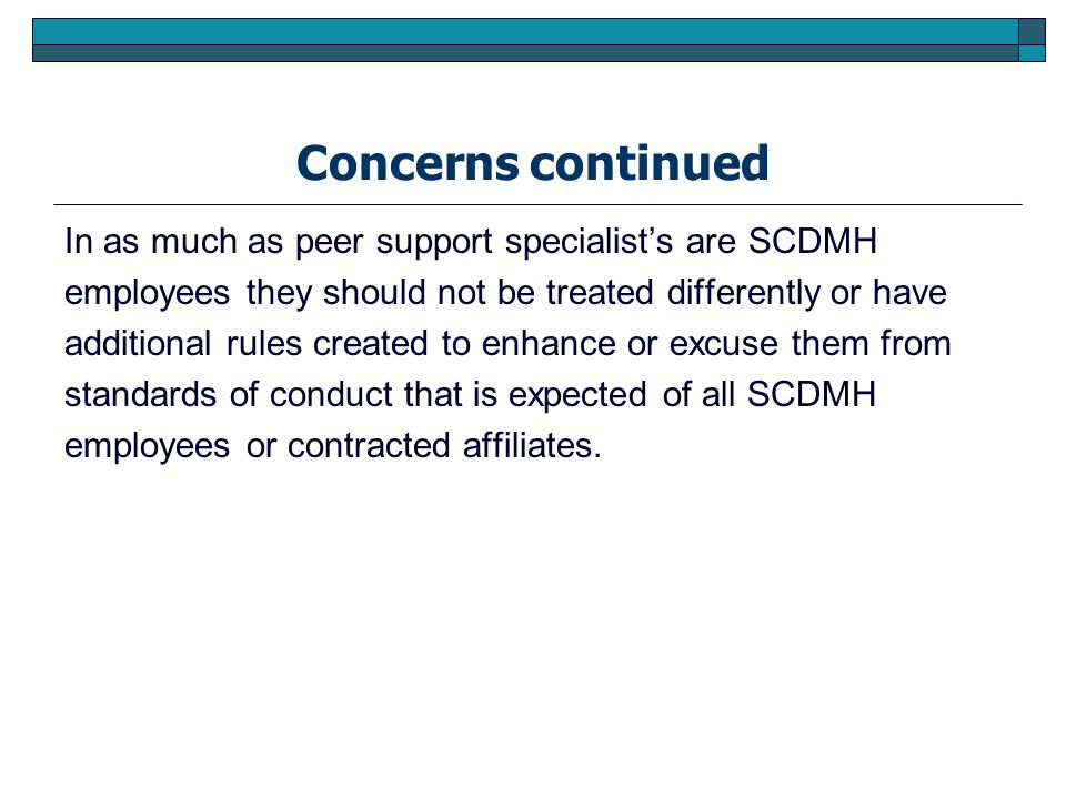 Concerns continued In as much as peer support specialists are SCDMH employees they should not be treated differently or have additional rules created