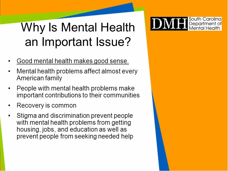 Why Is Mental Health an Important Issue? Good mental health makes good sense. Mental health problems affect almost every American family People with m