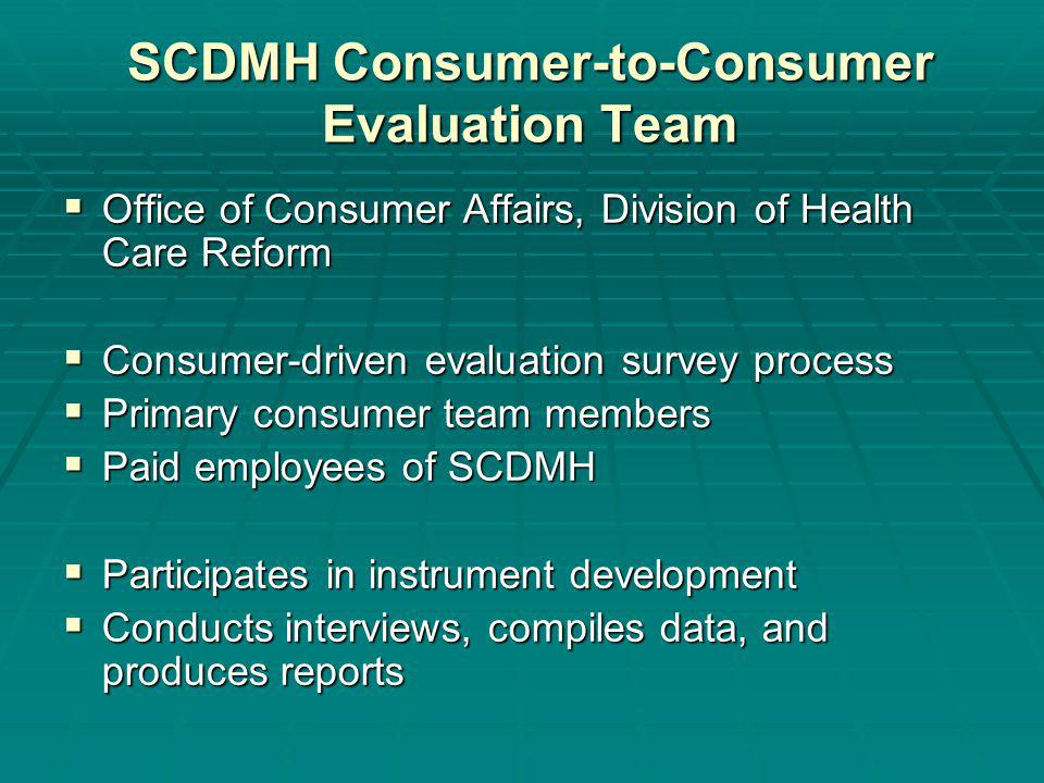 SCDMH Consumer-to-Consumer Evaluation Team Office of Consumer Affairs, Division of Health Care Reform Office of Consumer Affairs, Division of Health Care Reform Consumer-driven evaluation survey process Consumer-driven evaluation survey process Primary consumer team members Primary consumer team members Paid employees of SCDMH Paid employees of SCDMH Participates in instrument development Participates in instrument development Conducts interviews, compiles data, and produces reports Conducts interviews, compiles data, and produces reports