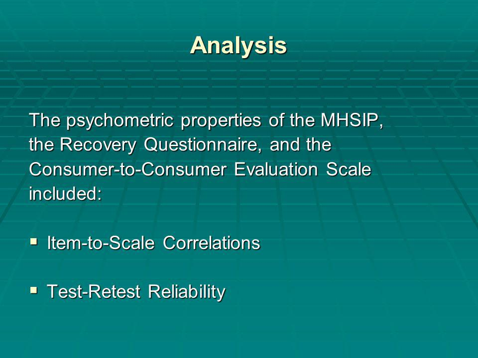 Analysis The psychometric properties of the MHSIP, the Recovery Questionnaire, and the Consumer-to-Consumer Evaluation Scale included: Item-to-Scale Correlations Item-to-Scale Correlations Test-Retest Reliability Test-Retest Reliability