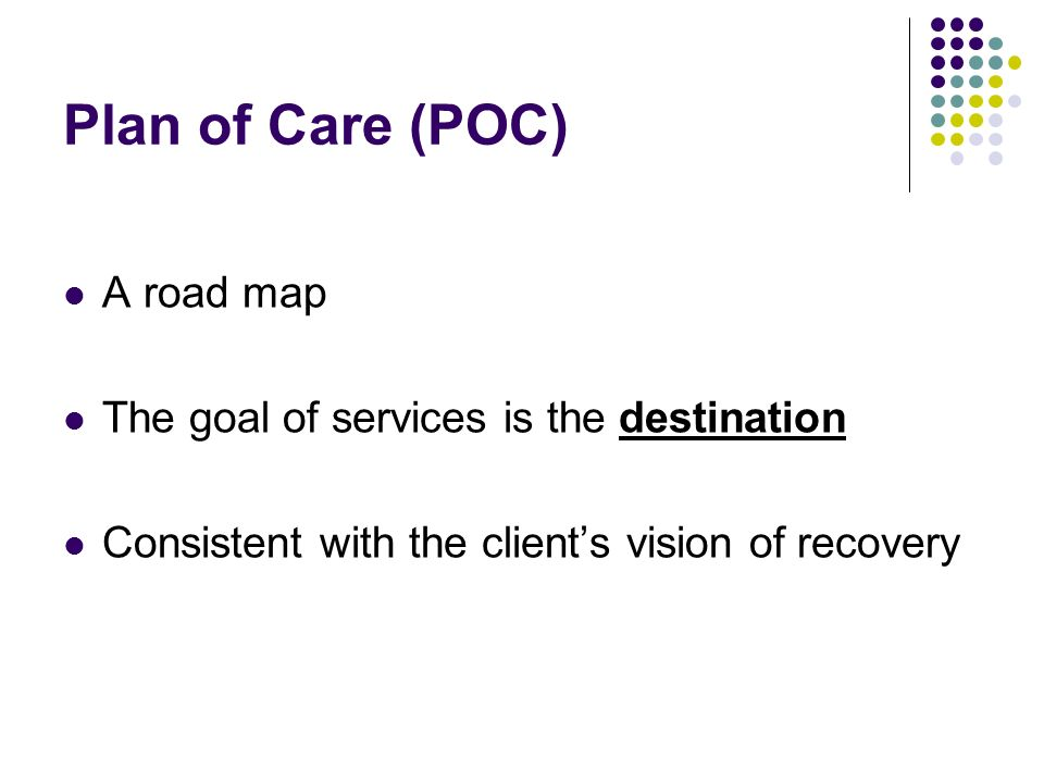 Plan of Care (POC) A road map The goal of services is the destination Consistent with the clients vision of recovery