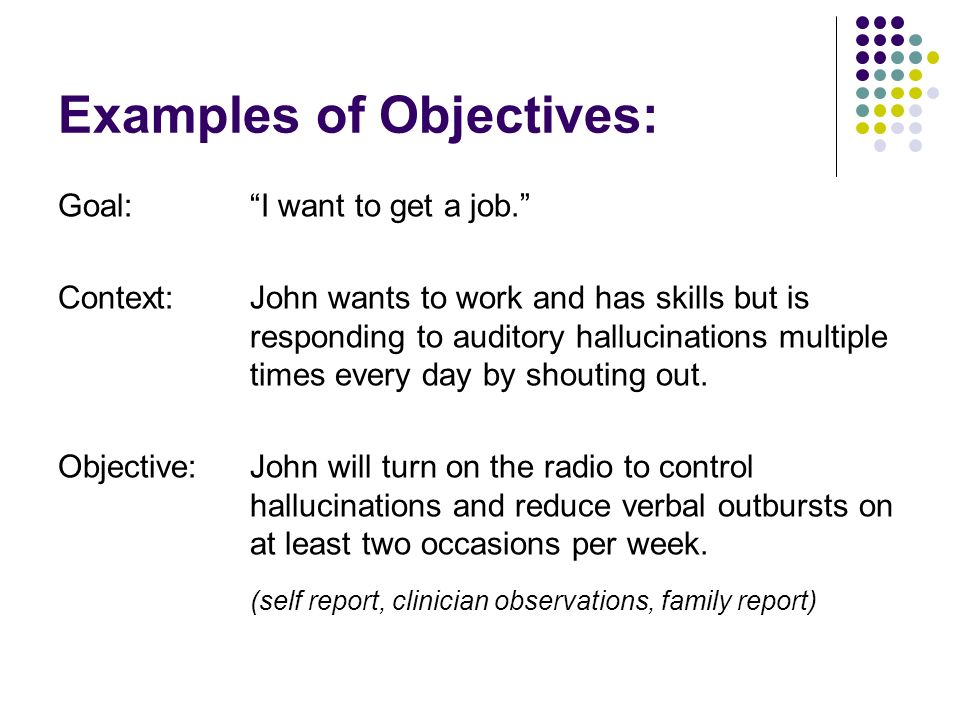 Examples of Objectives: Goal:I want to get a job. Context:John wants to work and has skills but is responding to auditory hallucinations multiple time
