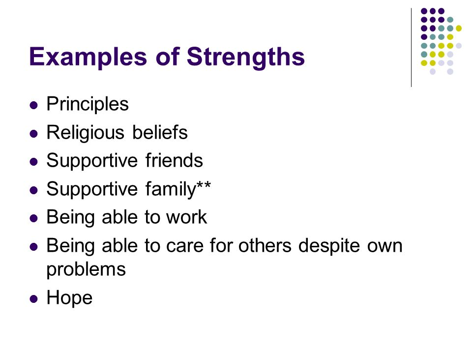 Examples of Strengths Principles Religious beliefs Supportive friends Supportive family** Being able to work Being able to care for others despite own