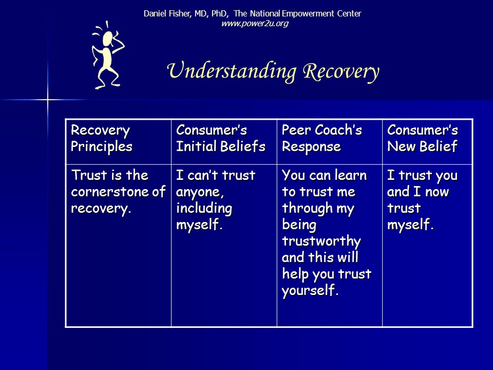 Recovery Principles Consumers Initial Beliefs Peer Coachs Response Consumers New Belief Trust is the cornerstone of recovery. I cant trust anyone, inc