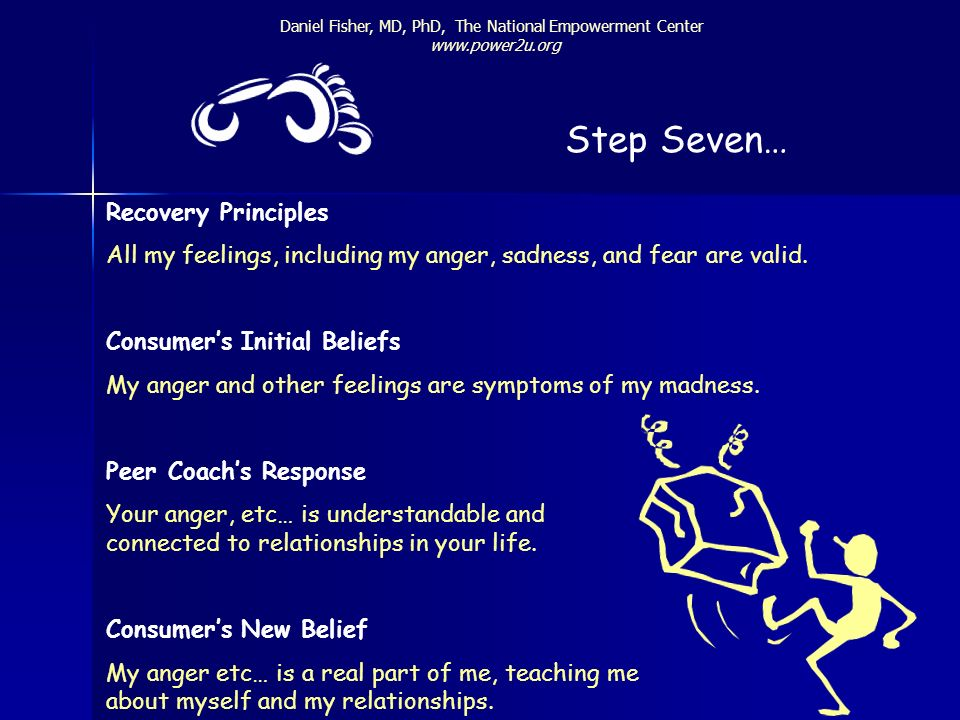 Daniel Fisher, MD, PhD, The National Empowerment Center www.power2u.org Step Seven… Recovery Principles All my feelings, including my anger, sadness,