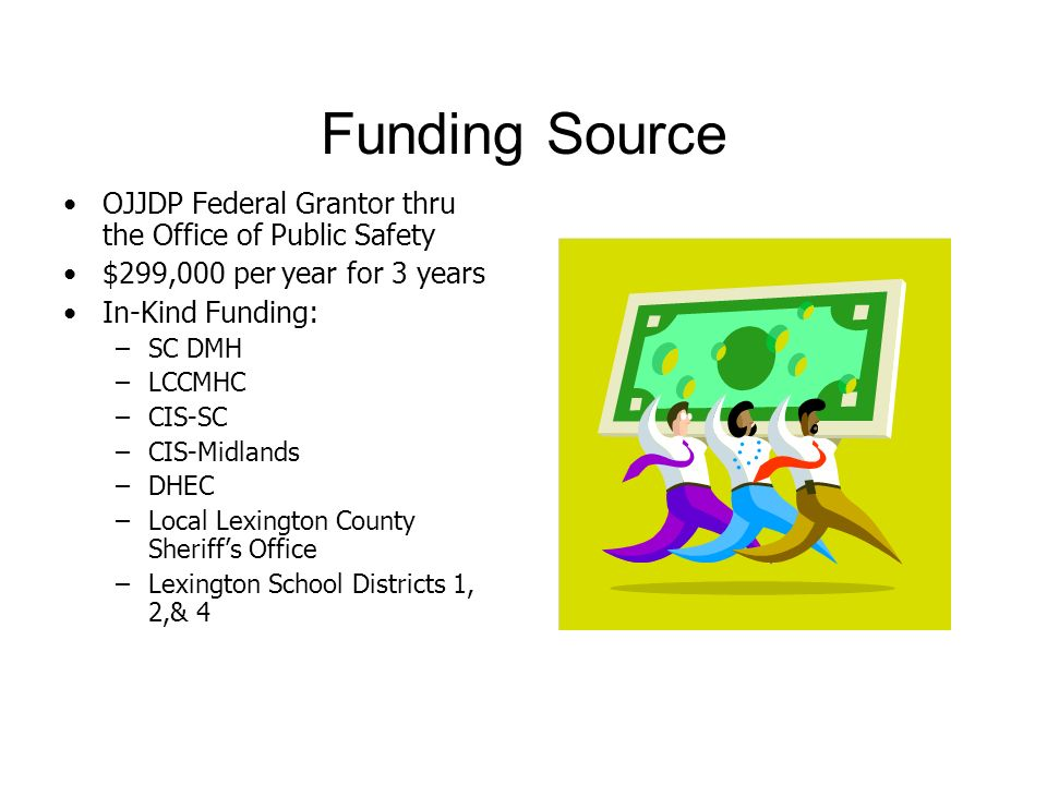 Funding Source OJJDP Federal Grantor thru the Office of Public Safety $299,000 per year for 3 years In-Kind Funding: –SC DMH –LCCMHC –CIS-SC –CIS-Midlands –DHEC –Local Lexington County Sheriffs Office –Lexington School Districts 1, 2,& 4