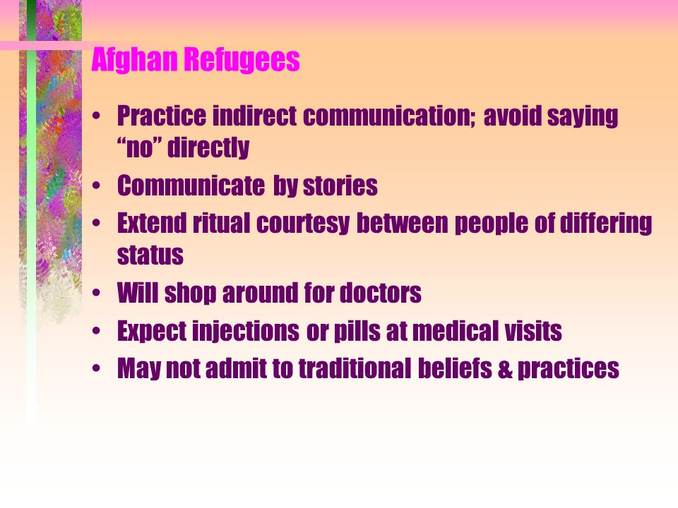 Afghan Refugees Practice indirect communication; avoid saying no directly Communicate by stories Extend ritual courtesy between people of differing st