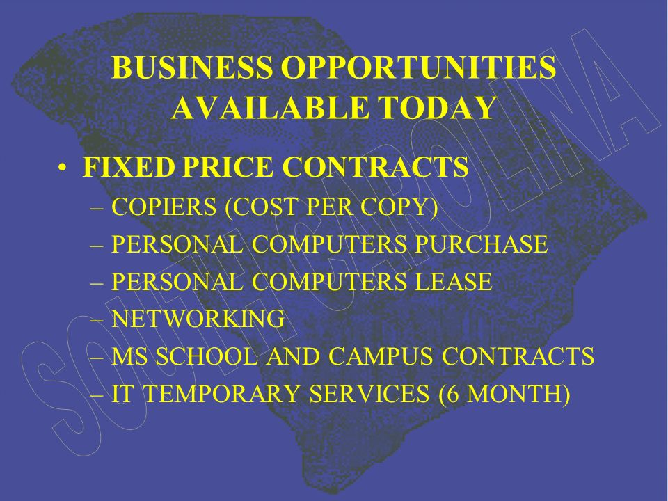 BUSINESS OPPORTUNITIES AVAILABLE TODAY FIXED PRICE CONTRACTS –COPIERS (COST PER COPY) –PERSONAL COMPUTERS PURCHASE –PERSONAL COMPUTERS LEASE –NETWORKING –MS SCHOOL AND CAMPUS CONTRACTS –IT TEMPORARY SERVICES (6 MONTH)