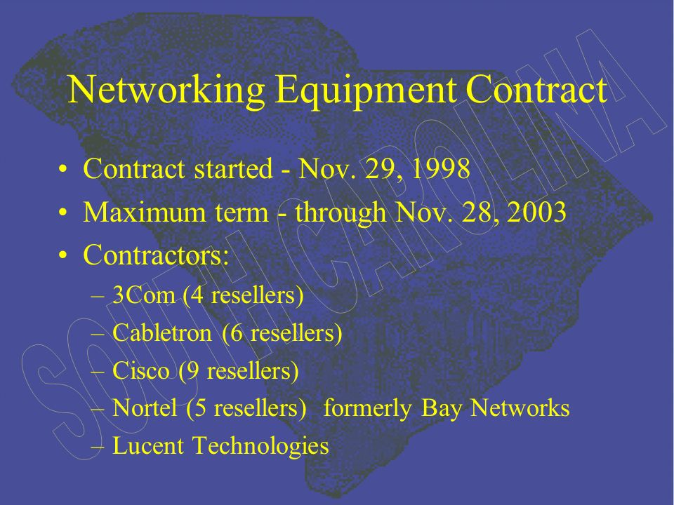 Networking Equipment Contract Contract started - Nov.