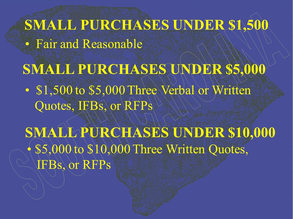 Fair and Reasonable SMALL PURCHASES UNDER $1,500 $1,500 to $5,000 Three Verbal or Written Quotes, IFBs, or RFPs SMALL PURCHASES UNDER $5,000 SMALL PURCHASES UNDER $10,000 $5,000 to $10,000 Three Written Quotes, IFBs, or RFPs