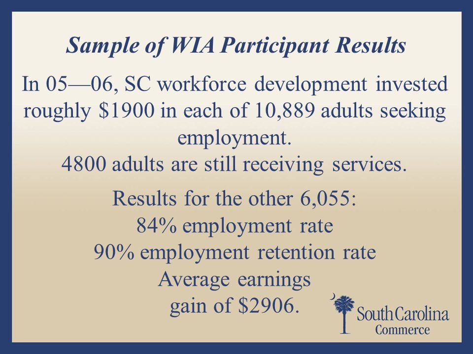 In 0506, SC workforce development invested roughly $1900 in each of 10,889 adults seeking employment.