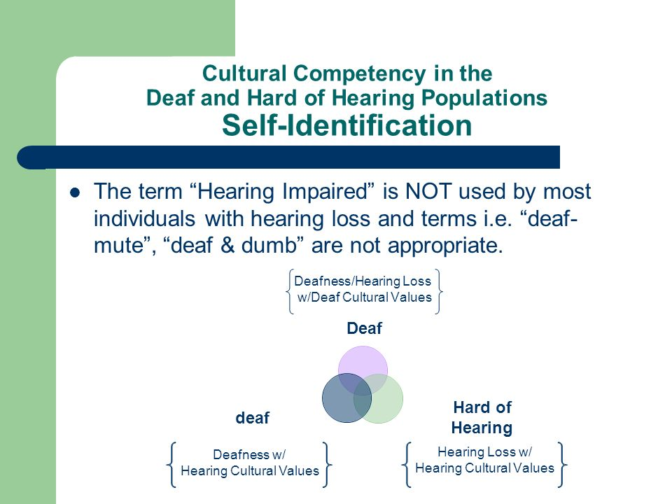 Cultural Competency in the Deaf and Hard of Hearing Populations Self-Identification The term Hearing Impaired is NOT used by most individuals with hea