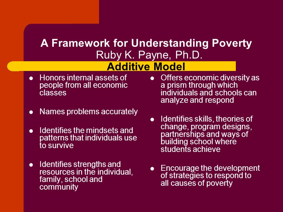 A Framework for Understanding Poverty Ruby K. Payne, Ph.D. Additive Model Honors internal assets of people from all economic classes Names problems ac