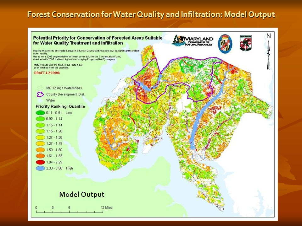 Forest Conservation for Water Quality and Infiltration: Model Output Model Output