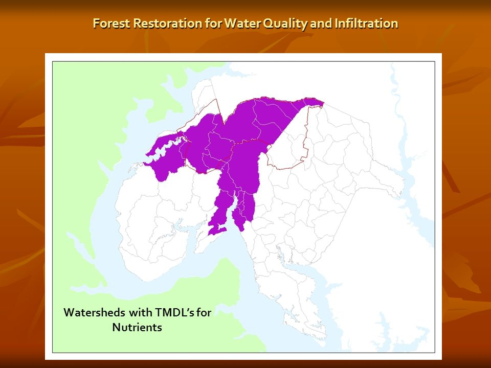 Watersheds with TMDLs for Nutrients Forest Restoration for Water Quality and Infiltration