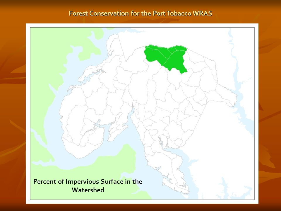 Percent of Impervious Surface in the Watershed Forest Conservation for the Port Tobacco WRAS