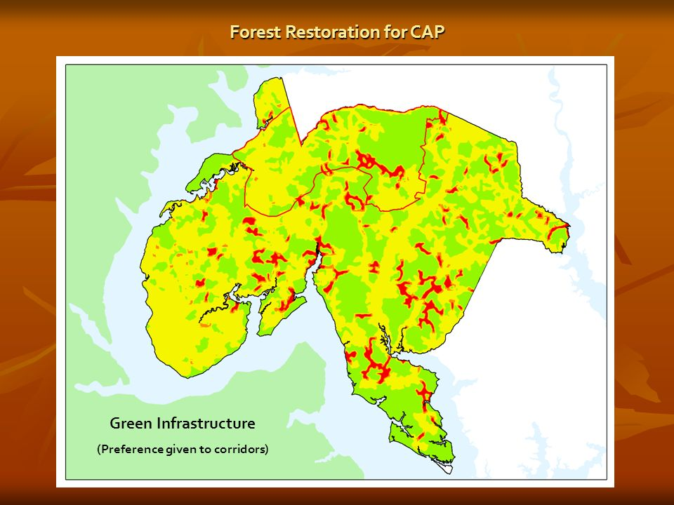 Green Infrastructure (Preference given to corridors) Forest Restoration for CAP