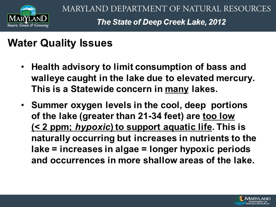 The State of Deep Creek Lake, 2012 Health advisory to limit consumption of bass and walleye caught in the lake due to elevated mercury.
