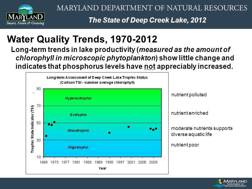 The State of Deep Creek Lake, 2012 Water Quality Trends, Long-term trends in lake productivity (measured as the amount of chlorophyll in microscopic phytoplankton) show little change and indicates that phosphorus levels have not appreciably increased.