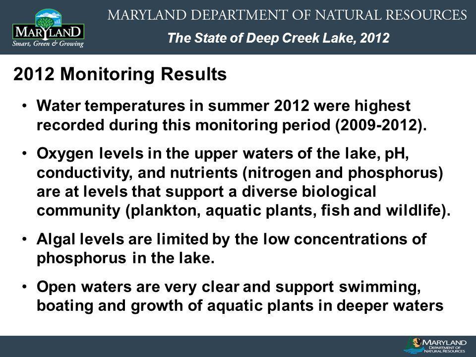 The State of Deep Creek Lake, 2012 Lake / Watershed Management Secretary John R.