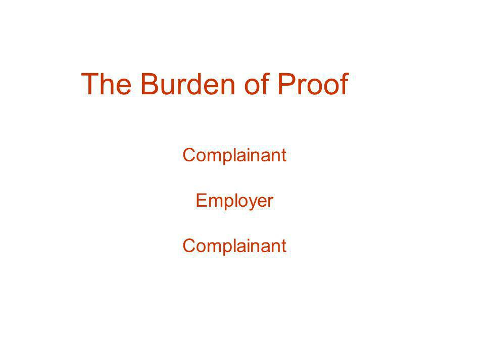 The Burden of Proof Complainant Employer Complainant