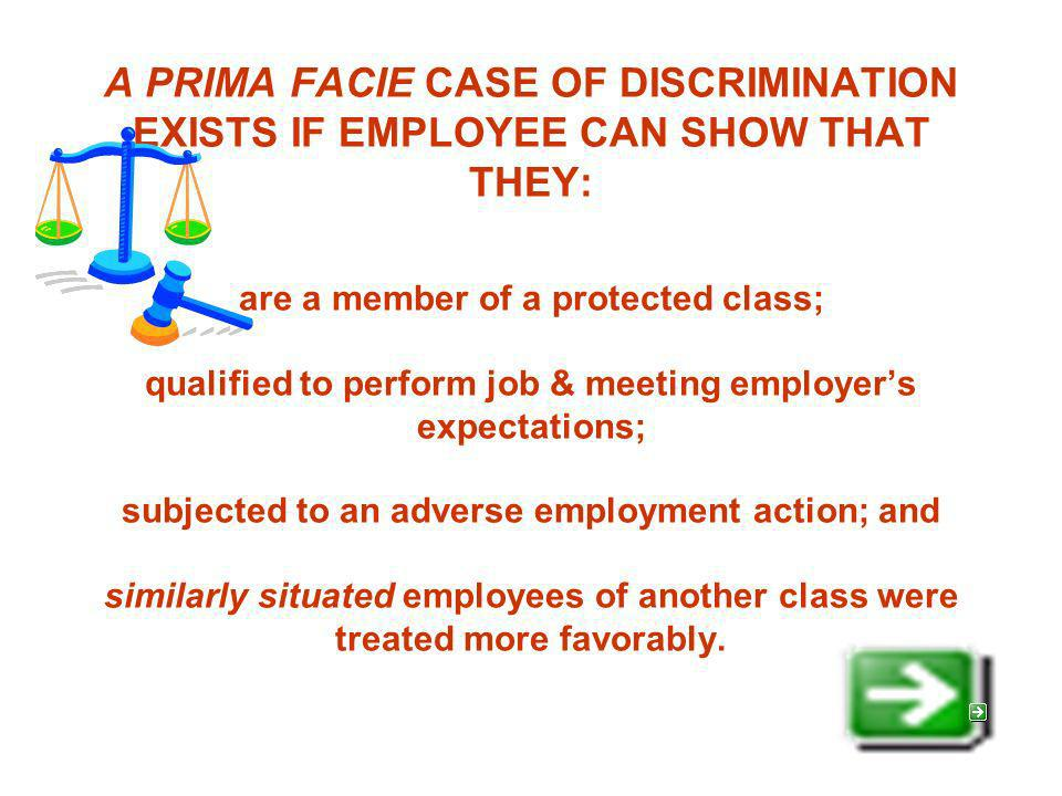 A PRIMA FACIE CASE OF DISCRIMINATION EXISTS IF EMPLOYEE CAN SHOW THAT THEY: are a member of a protected class; qualified to perform job & meeting employers expectations; subjected to an adverse employment action; and similarly situated employees of another class were treated more favorably.