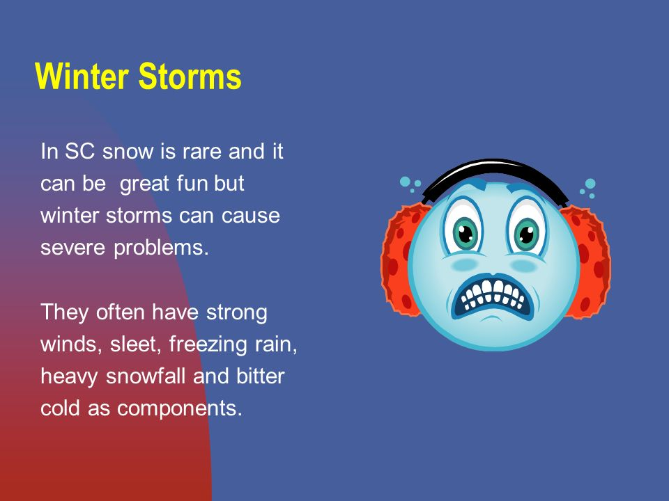 Winter Storms In SC snow is rare and it can be great fun but winter storms can cause severe problems.