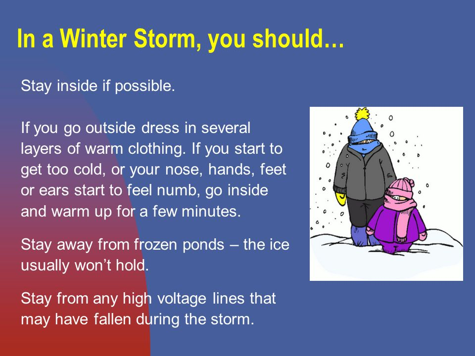 In a Winter Storm, you should… Stay inside if possible.