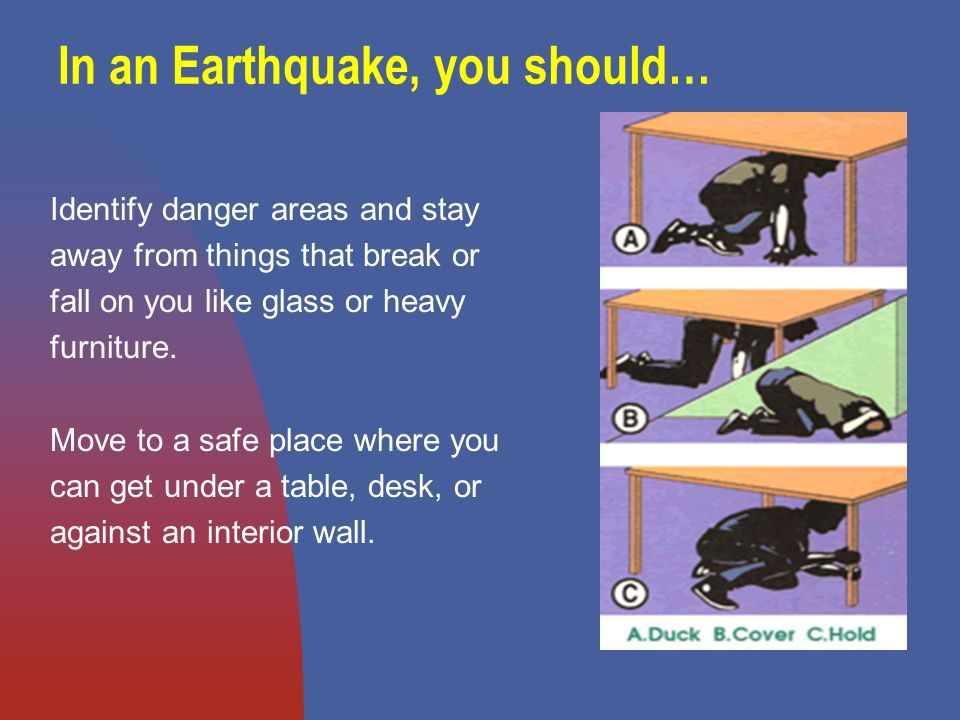 In an Earthquake, you should… Identify danger areas and stay away from things that break or fall on you like glass or heavy furniture.