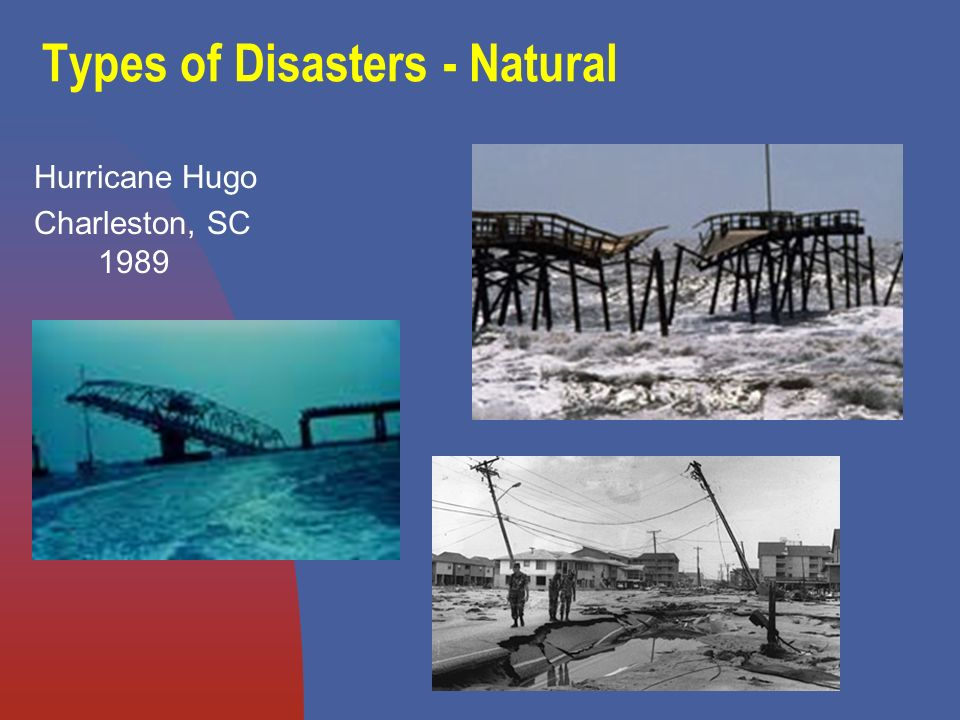Disasters can be accidental, examples include: Explosions Toxic spills Transportation Accidents Structural Failure Building Collapse Disease Oil Spills Global Warming Floods Droughts Fires