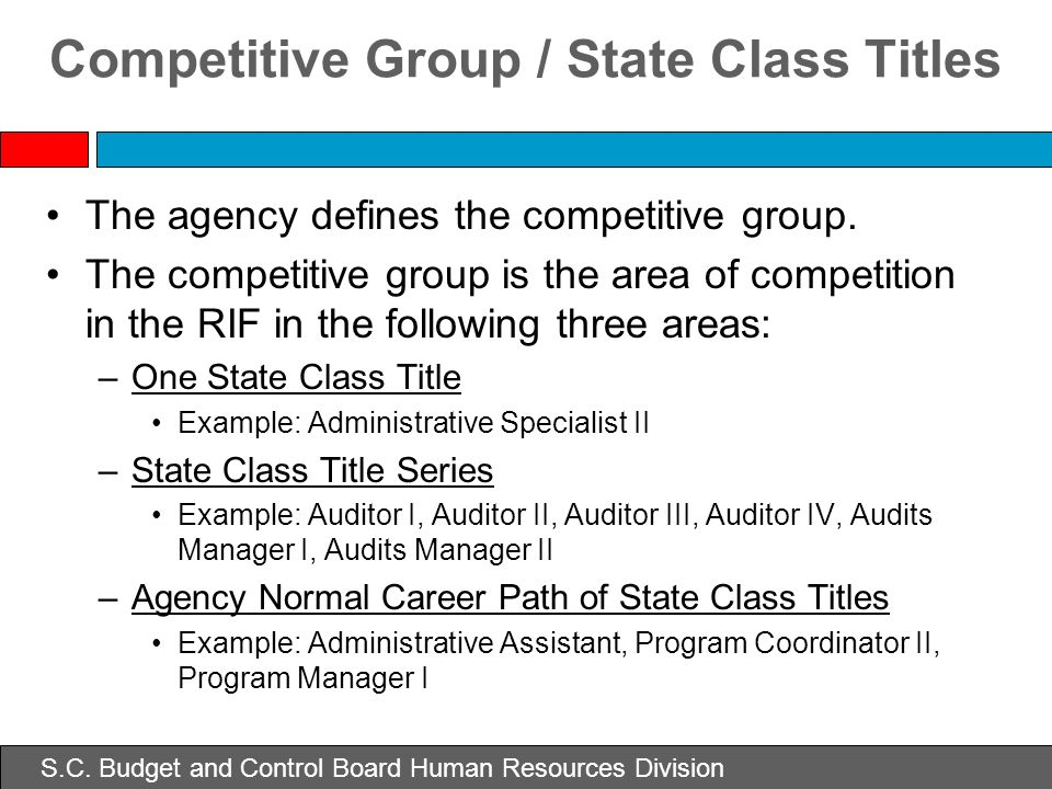 Competitive Group / State Class Titles The agency defines the competitive group. The competitive group is the area of competition in the RIF in the fo