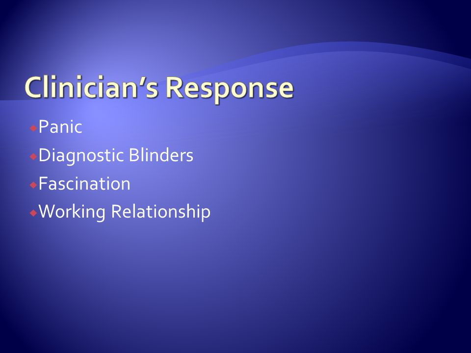 Panic Diagnostic Blinders Fascination Working Relationship