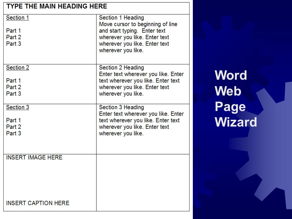 Word Web Page Wizard