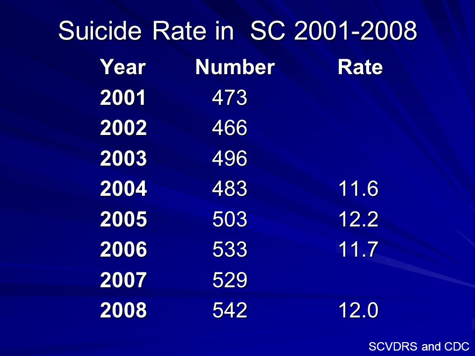 Suicide Rate in SC 2001-2008 YearNumberRate 2001 473 2002 466 2003 496 2004 48311.6 2005 50312.2 2006 53311.7 2007 529 2008 54212.0 SCVDRS and CDC