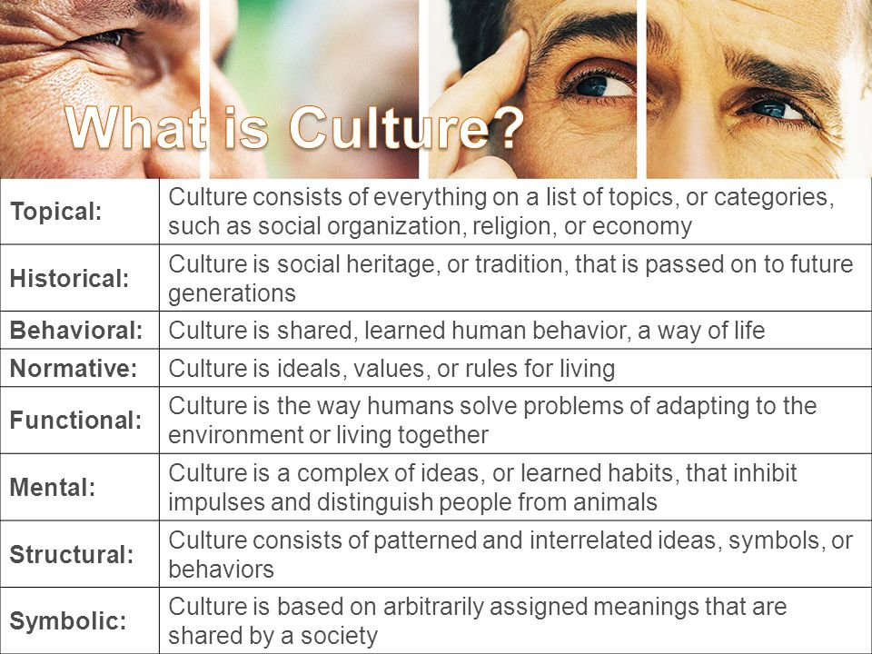 Topical: Culture consists of everything on a list of topics, or categories, such as social organization, religion, or economy Historical: Culture is social heritage, or tradition, that is passed on to future generations Behavioral:Culture is shared, learned human behavior, a way of life Normative:Culture is ideals, values, or rules for living Functional: Culture is the way humans solve problems of adapting to the environment or living together Mental: Culture is a complex of ideas, or learned habits, that inhibit impulses and distinguish people from animals Structural: Culture consists of patterned and interrelated ideas, symbols, or behaviors Symbolic: Culture is based on arbitrarily assigned meanings that are shared by a society