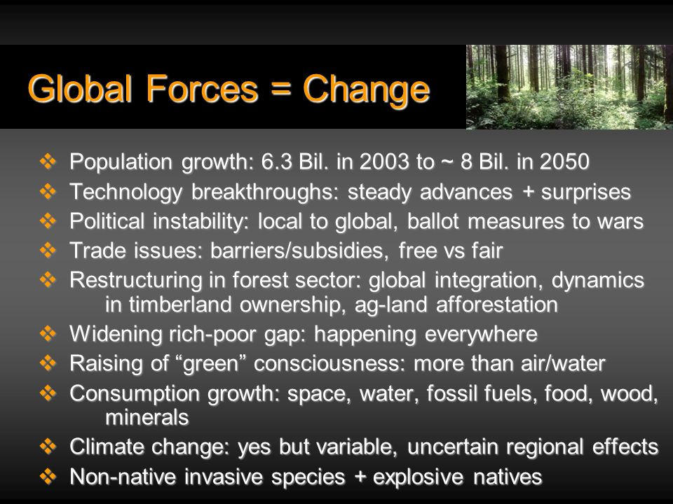 Global Forces = Change Population growth: 6.3 Bil.