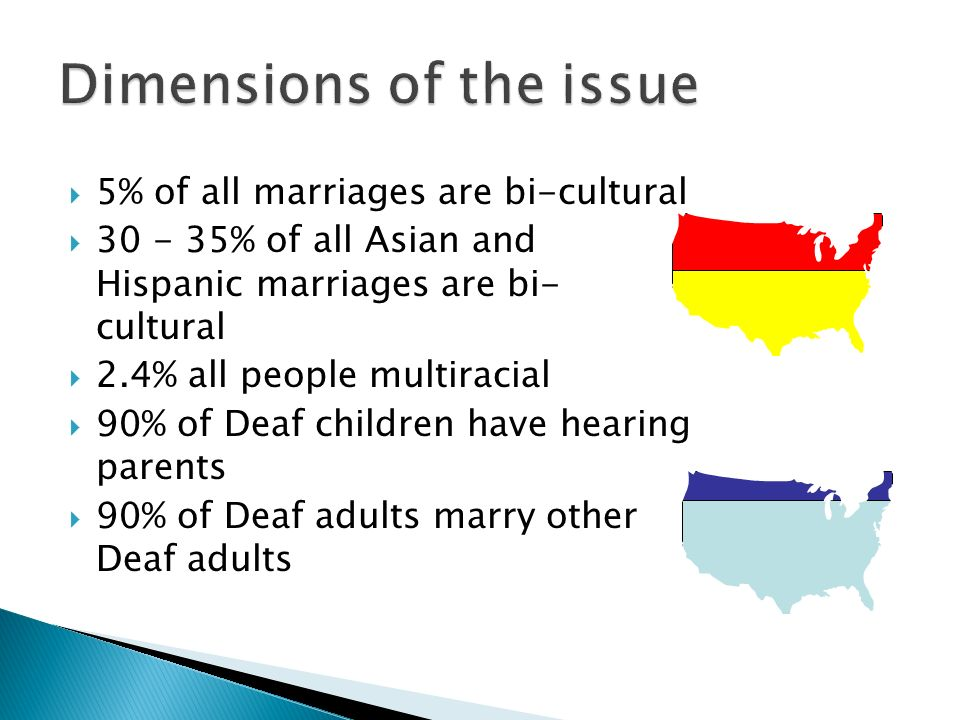 5% of all marriages are bi-cultural 30 - 35% of all Asian and Hispanic marriages are bi- cultural 2.4% all people multiracial 90% of Deaf children hav