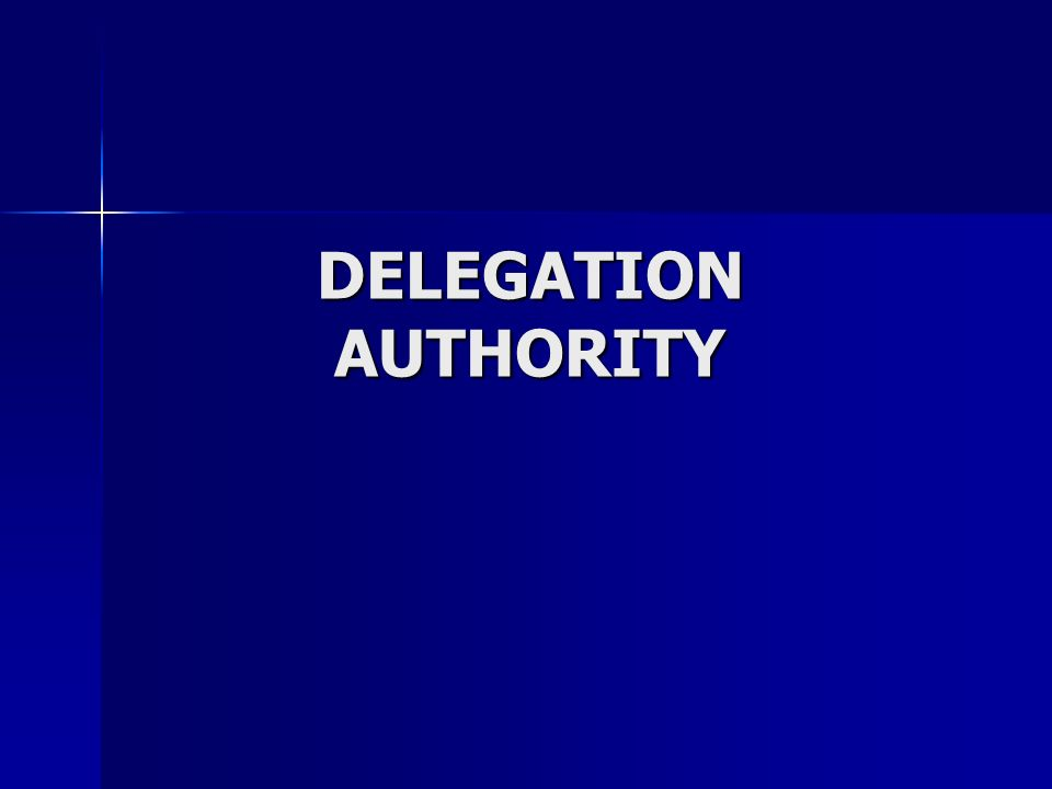 DELEGATION AUTHORITY